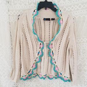 Relativity Girly Crocheted Tie Cardigan Size M